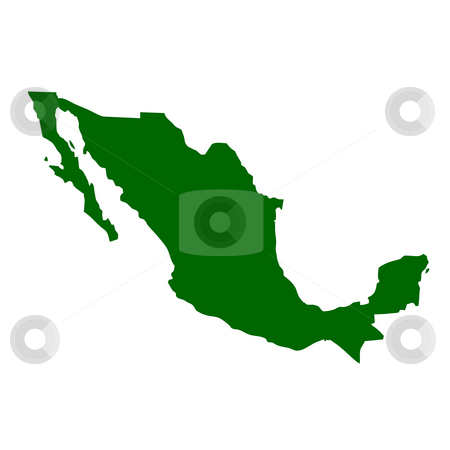 Mexico stock photo, Map of Mexico, isolated on white background. by Martin Crowdy