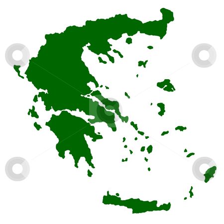 Greece stock photo, Map of Greece isolated on white background. by Martin Crowdy
