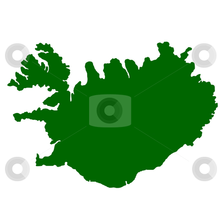 Iceland stock photo, Map of Iceland isolated on white background. by Martin Crowdy