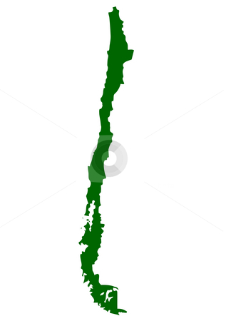 Chile stock photo, Map of Chile isolated on white background. by Martin Crowdy