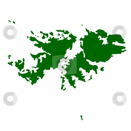 Falkland Islands stock photo, Map of Falkland Islands isolated on white background. by Martin Crowdy