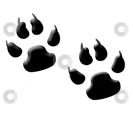 Monster footprints stock photo, Illustration of two monster or animal footprints with claws, isolated on white background. by Martin Crowdy