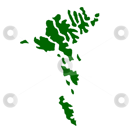 Faroe Islands stock photo, Map of Faroe Islands isolated on white background. by Martin Crowdy