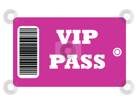 VIP_Pass stock photo, VIP Pass with bar code isolated on white background. by Martin Crowdy