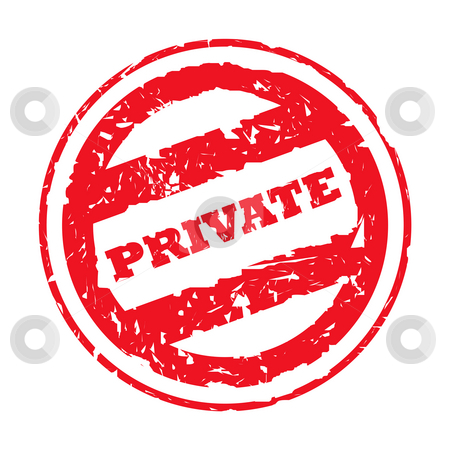 Used private stamp stock photo, Used red private stamp isolated on white background. by Martin Crowdy