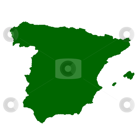 Spain stock photo, Map of Spain isolated on white background. by Martin Crowdy