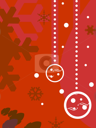 Decorative Christmas background stock photo, Decorative red Christmas background with copy space and bauble decorations. by Martin Crowdy
