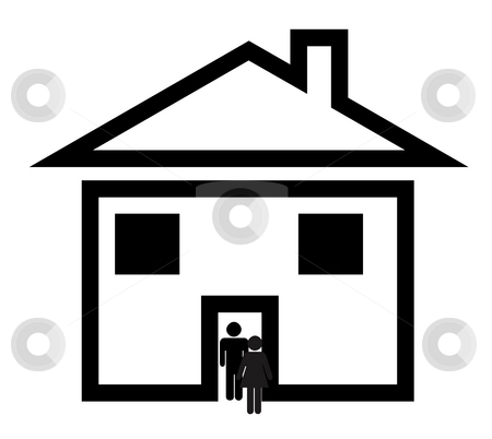 Couple in suburban home stock photo, Black silhouette of heerosexual couple walking through door of new suburban home, isolated on white background. by Martin Crowdy