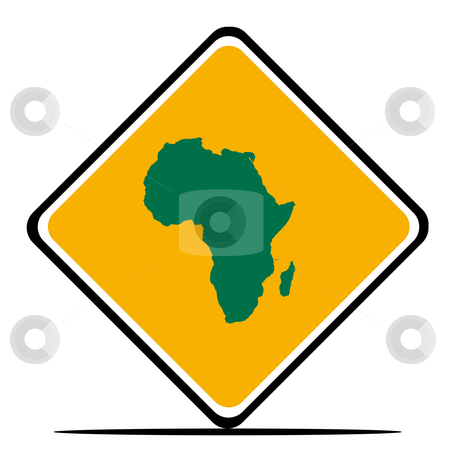 Africa road sign stock photo, African continent road sign in flag colors, isolated on white background. by Martin Crowdy