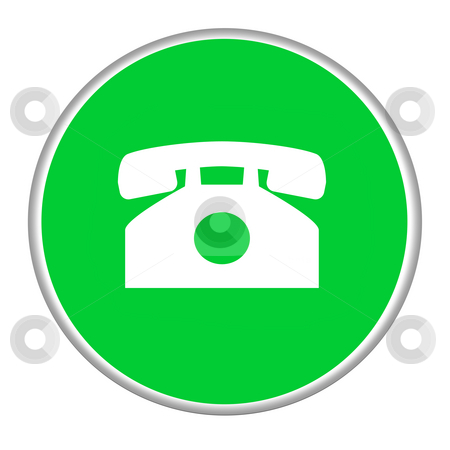 Telephone contact button stock photo, Green telephone contact button isolated on white background. by Martin Crowdy
