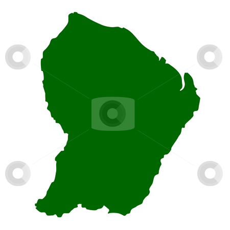 French Guiana stock photo, Map of French Guiana isolated on white background. by Martin Crowdy