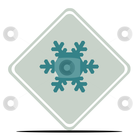 Snowflake sign stock photo, Snowflake road sign isolated on white background. by Martin Crowdy