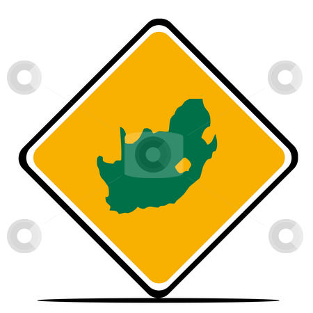 South Africa map sign stock photo, South Africa road sign in flag colors, isolated on white background. by Martin Crowdy