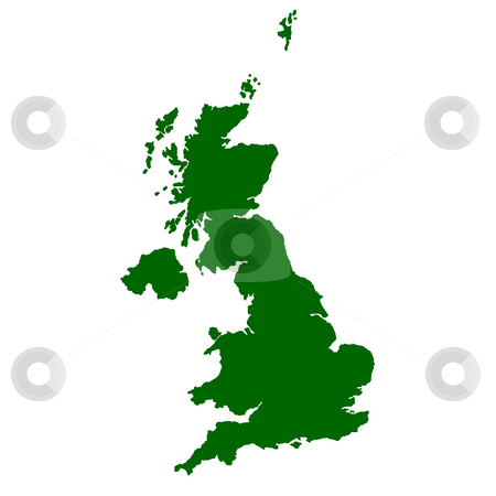 Great Britain stock photo, Map of United Kingdom isolated on white background. by Martin Crowdy