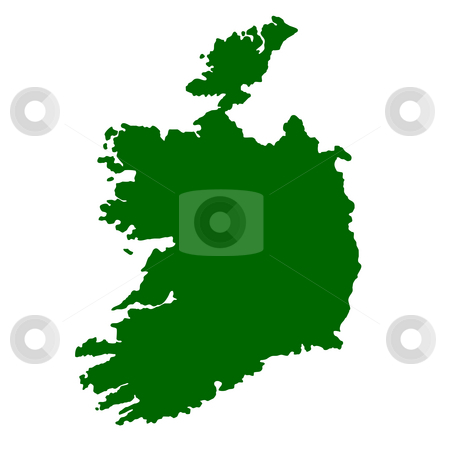 Ireland stock photo, Map of Ireland isolated on white background. by Martin Crowdy