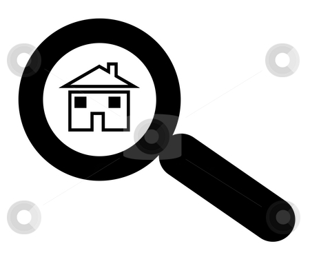 Looking for house or home stock photo, Magnifying glass above house or home, silhouetted in black on white background. by Martin Crowdy