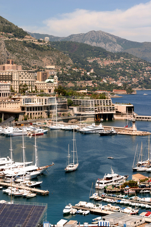 Monaco harbor stock photo, Elevated view of boats in Monaco harbor, France. by Martin Crowdy