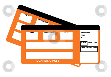 Two airline boarding pass tickets stock photo, Illustration of two blank airline boarding pass tickets, isolated on white background. by Martin Crowdy