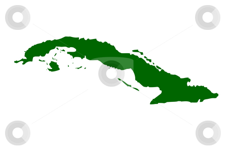 Cuba stock photo, Map of Cuba, isolated on white background. by Martin Crowdy