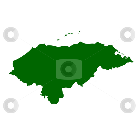 Honduras stock photo, Map of Honduras isolated on white background. by Martin Crowdy