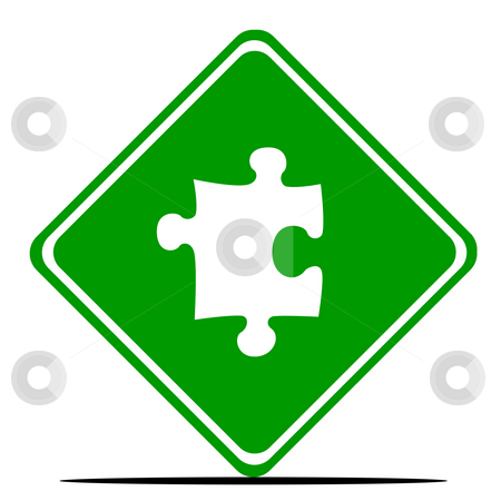 Jigsaw piece road sign stock photo, Green jigsaw piece road sign, isolated on white background. by Martin Crowdy