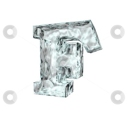 Frozen letter F stock photo, Frozen uppercase letter F on white background - 3d illustration by J?