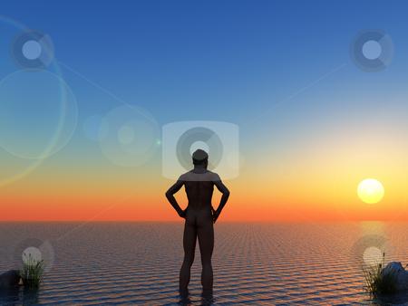 Sun stock photo, Naked man stands in water in the sunset - 3d illustration by J?