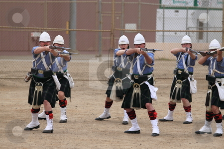 Seaside Highland Games stock photo, VENTURA, CA, USA - October 11, 2009 - Soldiers training for their competition at the Ventura Seaside Highland Games October 11, 2009 in Ventura, CA by Henrik Lehnerer