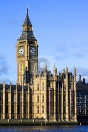 IMG 7590 stock photo, An evening shot of the Palace of Westminster, Big Ben and the River Thames, London England against a blue sky by Darren Pattterson