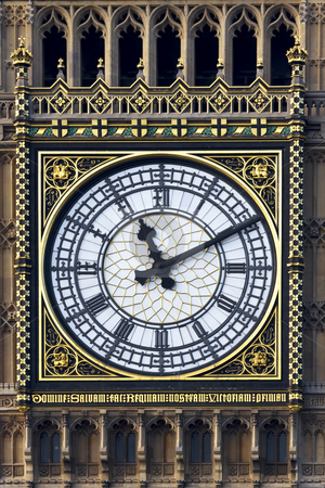 Big Bens face stock photo, Close up of the face of the clock on Westminster tower (Big Ben) by Darren Pattterson