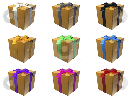 Gift boxes stock photo, 9 orange gift boxes with different ribbon colors by Mile Atanasov