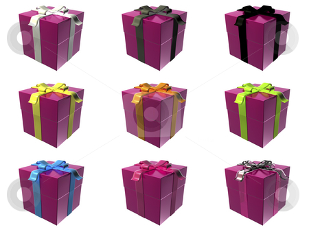 Gift boxes stock photo, 9 pink gift boxes with different ribbon colors by Mile Atanasov