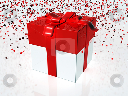 Gift box stock photo, Red and white gift box with red ribbon by Mile Atanasov