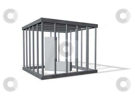 Big L in a cage stock photo, Uppercase letter L in a cage on white background - 3d illustration by J?