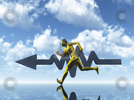 Sports stock photo, Running gold man under blue sky - 3d illustration by J?