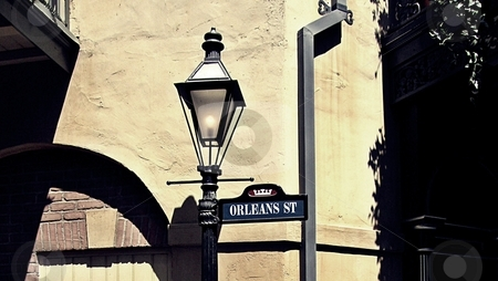 New Orleans lamp post stock photo, Picture of an old style lamp post in New Orleans by Dustin Conine