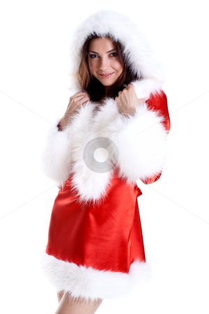 Beautiful woman wearing santa claus clothes stock photo, Beautiful woman wearing santa claus clothes on a white background by Artem Zamula