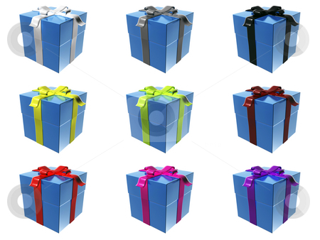 Gift boxes stock photo, 9 blue gift boxes with different ribbon colors by Mile Atanasov