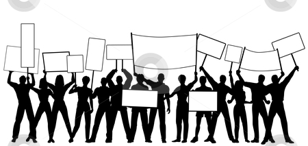 Placard holders stock vector clipart, Editable vector silhouettes of people holding placards or signs with all people and signs as separate objects by Robert Adrian Hillman