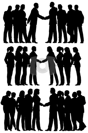 Business groups stock vector clipart, Three sets of editable vector silhouettes of business groups meeting with each person as a separate element by Robert Adrian Hillman