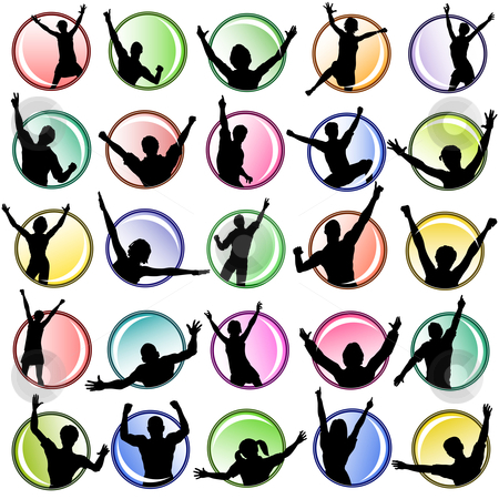 Button people stock vector clipart, Set of editable vector buttons with people silhouettes by Robert Adrian Hillman