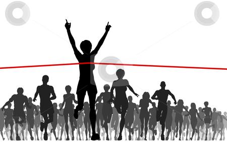 Champ stock vector clipart, Editable vector illustration of a woman winning a race by Robert Adrian Hillman