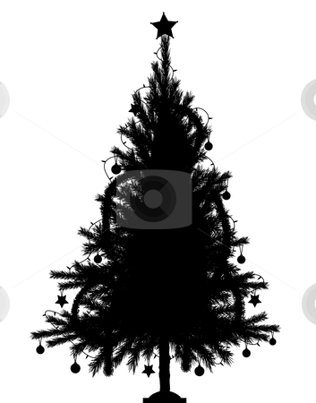 Christmas tree stock vector clipart, Editable vector silhouette of a detailed Christmas tree with tree and decorations as separate objects by Robert Adrian Hillman