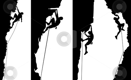 Climber side panels stock vector clipart, Set of editable vector side panel silhouettes of climbers with all elements as separate objects by Robert Adrian Hillman