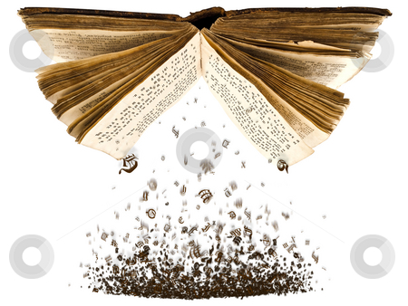 Open book with characters stock photo, Open book with spill out characters from it against the white background by Sergej Razvodovskij