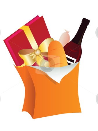 Paper bag with  food stock vector clipart, Paper bag with  food by Vitaliya Piliuhina