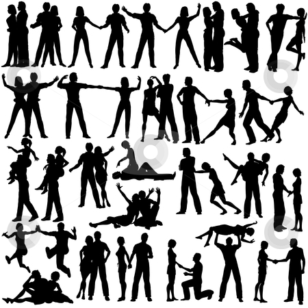 Couples stock vector clipart, Set of editable vector silhouettes of man and woman couples with every figure as a separate object by Robert Adrian Hillman