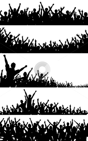 Crowd foregrounds stock vector clipart, Set of editable vector crowd silhouettes with each person as a separate object by Robert Adrian Hillman