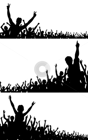 Crowd silhouettes stock vector clipart, Set of editable vector crowd silhouettes with each person as a separate object by Robert Adrian Hillman