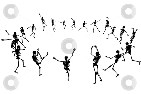 Dancing skeletons stock vector clipart, Editable vector skeleton silhouettes dancing in a ring with each skeleton as a separate object by Robert Adrian Hillman